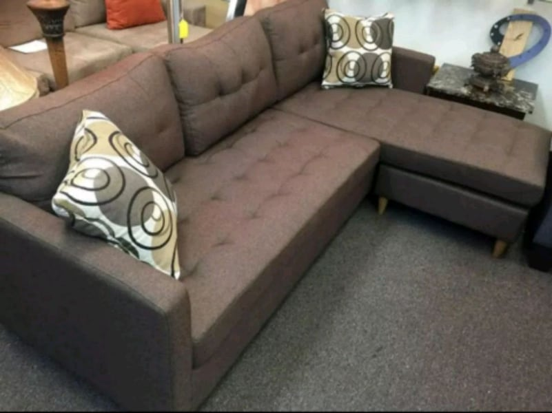 Brand New Brown Linen Sectional Sofa Couch  6f3e14af-1841-4168-a2e8-3309528cf9b0