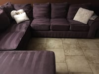 Brown suede sectional couch with throw pillows Phoenix, 85027