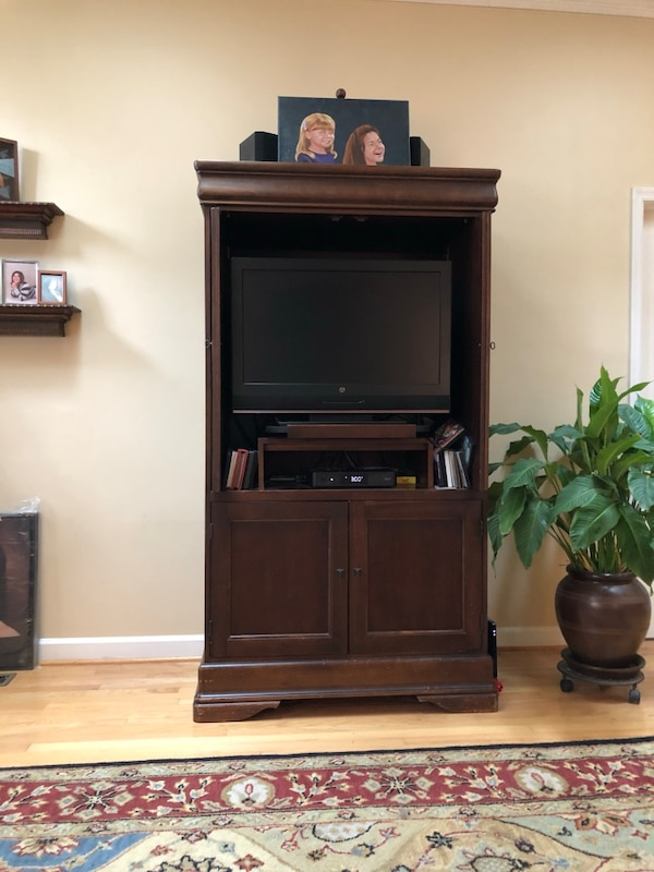 Solid wood entertainment Armoire by Hooker 57cd9cb6-119d-4abd-b678-2f04a34c0bc7