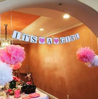 Its a girl pink banner baby shower party reveal Rancho Cucamonga