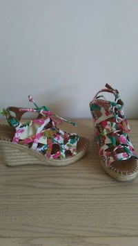 pair of multicolored floral wedge sandals Winnipeg, R2K 0X3