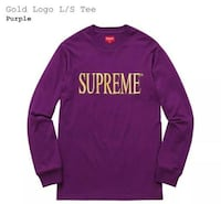 Medium Supreme FW16 Gold Logo L/S Tee (purple) Fw16 null