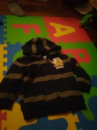 black and gray striped zip-up hoodie