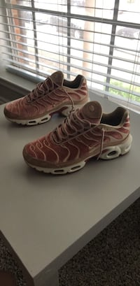 pair of brown-and-white Nike running shoes Houston, 77096