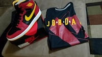 Red black yellow and white air jordan 1 Riverview, 33578