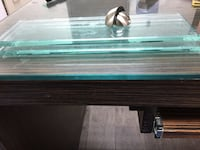 brown wood-framed clear glass top table Toronto, M9L 2R6