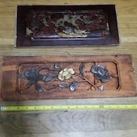 Vintage Asian Wood Panel Carving Art (2) Queens, 11103