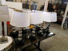 Hotel  style white and black table lamps
