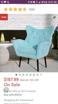teal fabric padded sofa chair screenshot Gaithersburg, 20879
