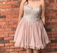 Gray and pink sweetheart dress