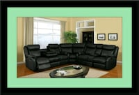 C shape sectional black bonded leather Bowie, 20720