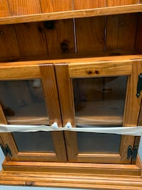 Solid oak wood cabinet with glass doors
