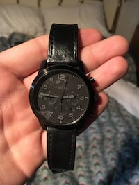 round black chronograph watch with black leather strap Fremont, 68025