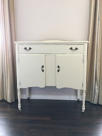 Antique White wooden cabinet with a touch of modern chalk paint