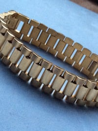 "Gold over Stainless Steel Bracelet 9"" ***Fits Large Men's Wrists Boca Raton, 33433"