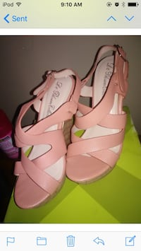 pair of pink leather open-toe slingback heels screenshot Columbia, 38401