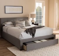 Queen/ Full Gray storage bed frame Los Angeles, 91356
