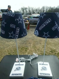two white-and-blue Cowboys table lamps Hampton