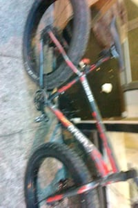 red and black mountain bike