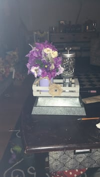 centerpiece in shades of purples and lavenderw/ vintage jar of fairy lights w/ remote Fall River, 02720