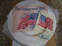 4 white plates with american flags printed on Silver Spring