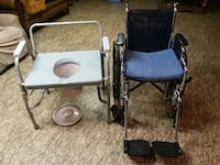 black wheelchair and grey commode chair CHICAGO
