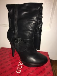 Size 8.5 black leather NEW GUESS knee boots  Camden, 08103