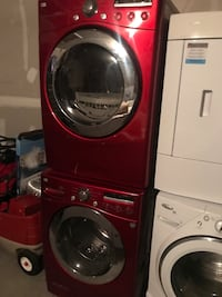 Red front-load washer and GAS dryer set Dallas, 75235