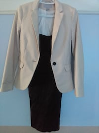 women's white and black dress with beige coat