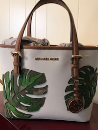 Brown and green leather michael kors tote bag Indian Head, 20640