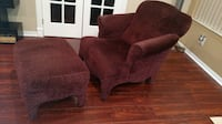 Burgundy Fabric Accent Chair and Ottoman 809 mi