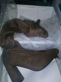 pair of gray suede chunky heeled boots 2273 mi