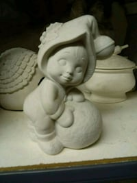 white ceramic angel figurine with white ceramic vase Montebello, 90640