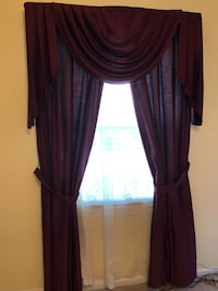 Pair of burgundy curtains to cover 2 standard windows