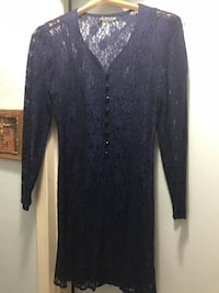 Navy long sleeved lace dress