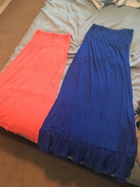 women's blue and orange sleeveless dress