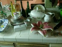 white and pink floral ceramic tea set Anaheim, 92808