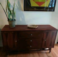 Mid Century rosewood buffet credenza vintage MCM cabinet