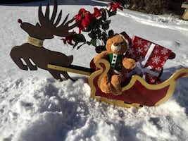 Handcrafted Rudolph and sleigh