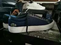 pair of blue-and-gray Lacoste sneakers