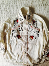 white, red, and black long sleeves embroider shirt