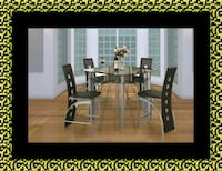 Counter height glass dining table with 4 chairs Suitland-Silver Hill
