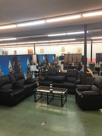 Brand New 3pc Black Leather Reclining Sofa + Reclining Loveseat + Recliner Chair $1499, finance available  North Highlands, 95660