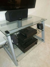 3 Shelves Tempered Glass TV Stand Crofton