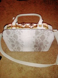 white and brown monogrammed Coach leather handbag Fresno, 93705
