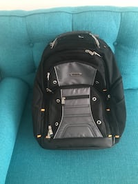 Black and gray leather backpack
