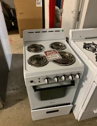 "❥Used 20"" coil top electric stove white -"