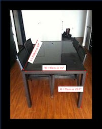 Dining Table - Dark Brown Wood with Black top glass Toronto