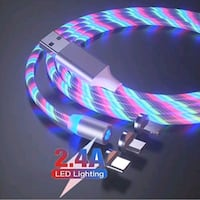 NEW! 3 in 1 Magnetic Fast Charging LED Cable!Android &Apple Compatible