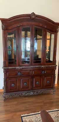 Hutch - Cherry  Wood, lighted,  marble  Neenah, 54956